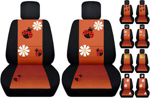 Vw Beetle Front Car Seat Covers Black Burnt Orange W Daisy Ladybug Butterfly