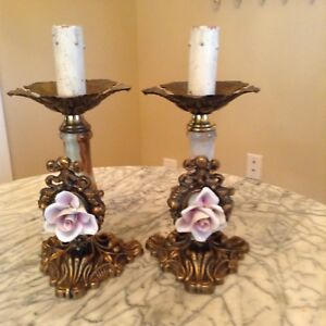 French Bronze Porcelain Rose And Alabaster Lamps Circa 1940 S