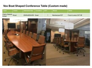Nienkamper icf Vox Boat Shaped Conference Table And Executive High Back Chairs
