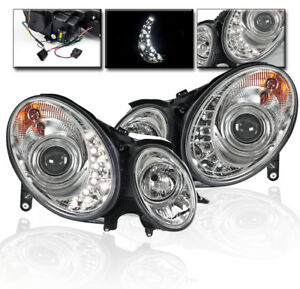 2007 2008 2009 Mercedes Benz W211 Drl Led Projector Head Lights Lamp Chrome Pair