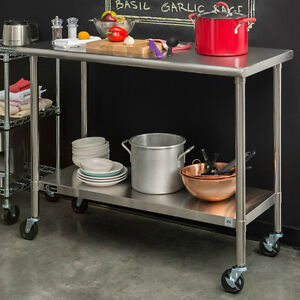 Stainless Steel Cart Table Rolling Prep Kitchen Island Commercial Locking Wheel