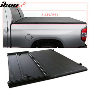 Fits 09 18 Ford F 150 8ft 96in Long Bed Black Tri fold Tonneau Cover