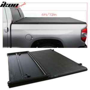 Fits 94 03 Chevrolet S10 Gmc S15 6ft 72in Bed Black Tri Fold Soft Tonneau Cover