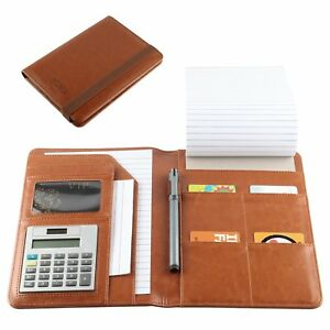 Leather Portfolio Small Notebook Padholder Junior Legal Notepad With Calculat