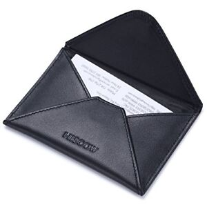 Hiscow Envelope Business Card Case Black With Magnet Closure Italian Calfskin