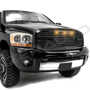 Gloss Black Big Horn 3led grille replacement Shell For 06 09 Dodge Ram 2500 3500