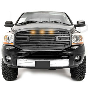 06 09 Dodge Ram 2500 3500 Matte Black Big Horn 3x Led grille replacement Shell