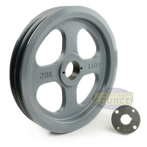 Cast Iron 10 75 2 Groove Dual Belt B Section 5l Pulley With 7 8 Sheave Bushing