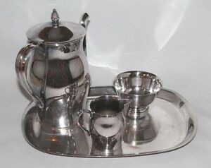 Vintage Wm Rogers Paul Revere Reproduction Silver Plated 4 Piece Tea Set