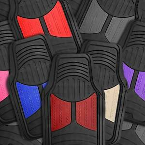 Car Floor Mats For All Weather Rubber 2 tone Design Heavy Duty 4 Pc Set