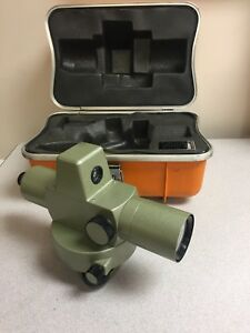 Vintage Geotec Auto Level Survey Transit Al 23 5551 Clc 639674 With Case