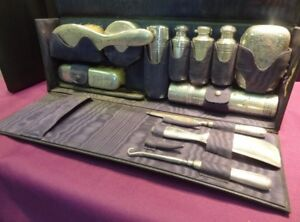 Tiffany Co Antique Signed 13 Piece Sterling Silver Traveling Vanity Set