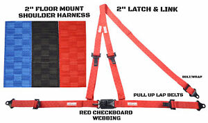 2 Inch Racing Harness Floor Mount 3 Point Y Seat Belt Red Checkerboard
