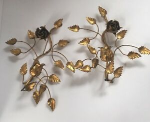 Pair Mid Century Gilt Italian Florentine Tole Rose Candle Sconces