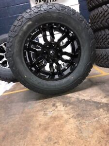 20x10 Sledge Black Wheels 35 Fuel At Tires Package 5x5 5 Dodge Ram 1500