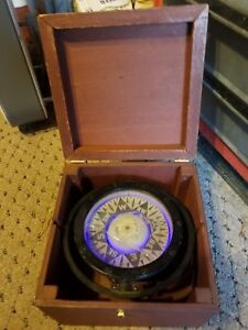 Large Vintage Antique Ships Compass Gimbal And Box