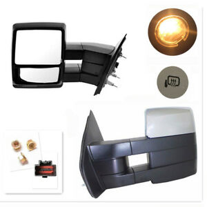 Tow Mirrors 07 14 Ford F150 Chrome Power Heated Smoke Signal Puddle Light Sets