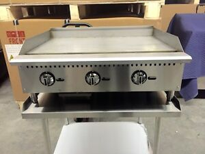 36 Flat Griddle 3 Thermostat Control Gas Grill New Breakfast Diner 3 Foot Temp