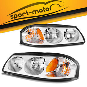For 2000 2005 Chevy Impala Chrome Headlights Replacement Kit Left Right Assembly