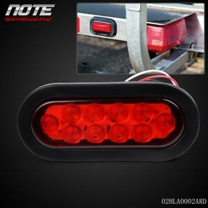 New For Truck Trailer 6 Inch 10led Oval Red Stop Turn Tail Light Flush Mount