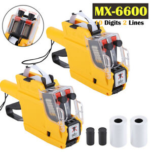 qty 2 Mx 6600 10 Digits 2 Lines Price Tag Gun Labeler 1 Ink 5 Rolls Tags Oy