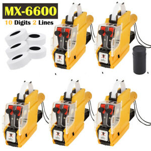 5x Price Tag Gun Pro Mx 6600 10 Digits Eos W 5 Rolls Lines Labels 1 Ink Oy