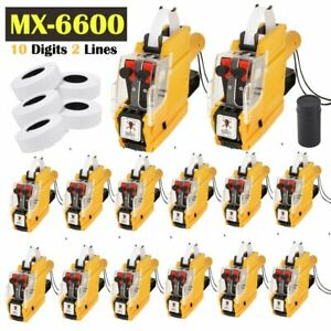 Lot Pro Mx 6600 10 Digits 2 Lines Price Tag Gun Labeler 1 Ink 5 Rolls Tags Hi
