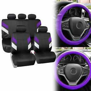 Neoprene Car Seat Covers For 5 Headrests Purple W Grip Silicone Steering Cover