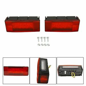 Led Waterproof Red Trailer Boat Rectangle Stud Stop Turn Tail Lights Left Right