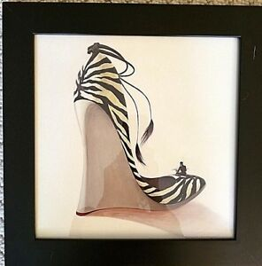 3 Framed Drawings Of Womens Fashion Shoes Gentlemen Smoking Cigarette