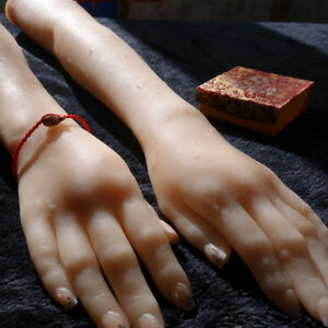 Female Silicone Hand Model Long Hand Mannequins Jewelry Display A Pair A389