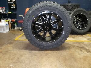 20x12 44 Ion 141 Black 35 Fury Rt Wheel And Tire Package 8x170 Ford F250 F350