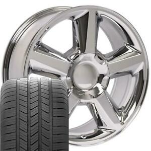 20 Rims Tires Fit Gm Chevy Tahoe Yukon Ltz Chrome Wheels Gy Tires 5308