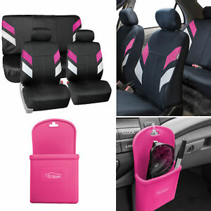Neoprene Car Seat Covers For Auto Car Pink W Silicone Phone Holder