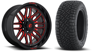 20x10 Fuel D663 Ignite Red 33 At Wheel And Tire Package 6x5 5 Chevy Suburban