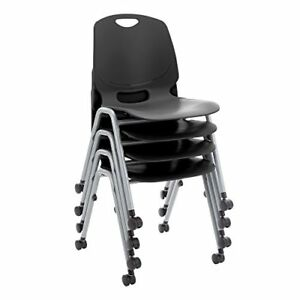 Academic Mobile Stack Chair Black Pack Of 4