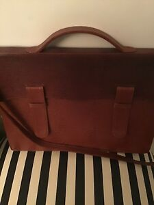 Levenger Beautiful Slim Crocked Genuine Leather Briefcase
