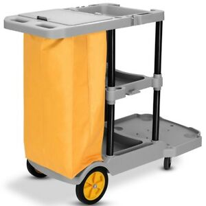 3 Shelf Janitorial Cleaning Housekeeping Utility Cart For Office Commercial Use