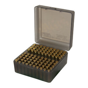 MTM RS-100-41 MTM Ammo Box 100 Round Flip-Top 223 204 Ruger 6x47 Clear Smoke