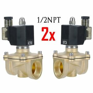 2 X 1 2 Brass Electric Solenoid Valve 110v Ac Volt Dc Water Air Gas Viton Nc Ho