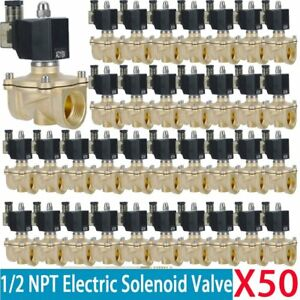 50 X Electric Solenoid Valve Switch Water Air 1 2 Brass Normally Closed N c Ho