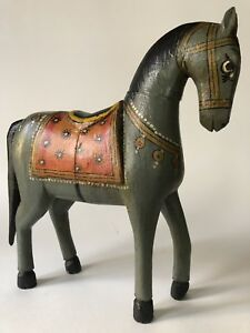 Antique Folk Art Wooden Horse Hand Painted Wood Figurine Handmade Gray Vintage