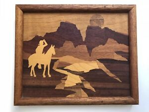 Wood Inlay Marquetry Signed Nelson Horse Mountain Sunset 11x9 Wooden Art Frame