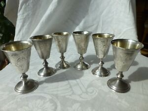 Set Of 6 Mid Century Russian Silver Cordial Shot Goblets 3 Mxp Punch Vtg