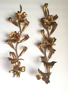 Pair Gold Gilt Tole Italy Candle Sconce Lily Flowers Leaves Hollywood Regency