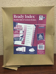 24 Sets Avery Ready Index Uncollated 10 tab Table Of Contents Dividers 11169