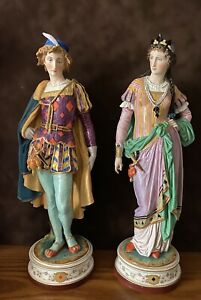 Antique French Limoges Henri Ardant Museum Pair Of Bisque Figurines