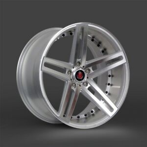 24 Axe Ex20 Staggered Silver polished 5x112 Mercedes S550 S63 Bentley Audi A8