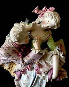 Antique French Limoges Old Haviland Bisque Figure Of Lovers Rare Masterpiece