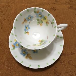 Tuscan Blue Yellow Flowers Fine Bone China Cup Saucer England